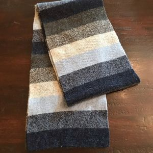 NWOT Gap Blue/Gray Stripe Lambswool Scarf